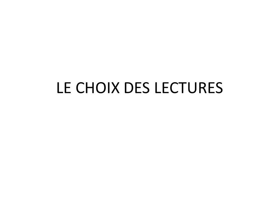 LE CHOIX DES LECTURES