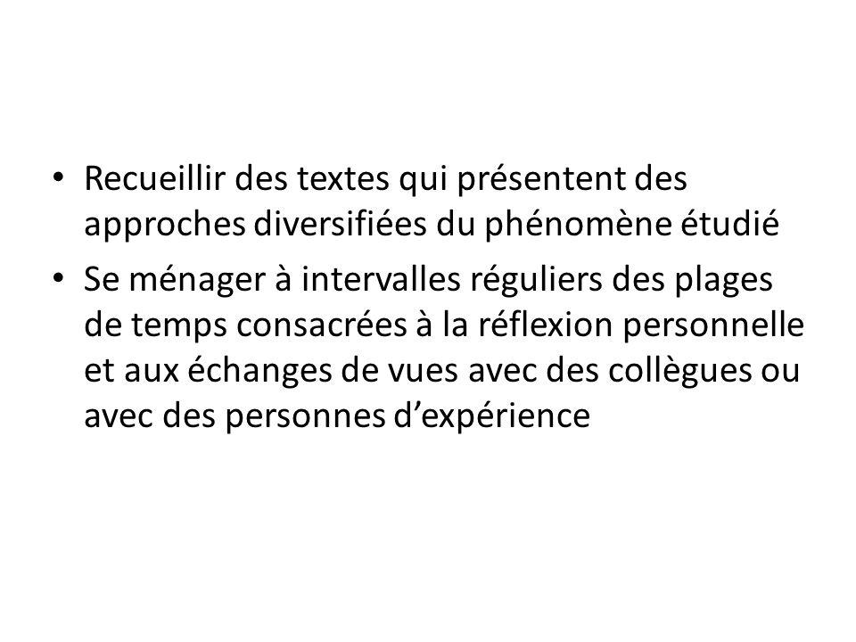 Recueillir des textes qui présentent des approches diversifiées du phénomène étudié Se ménager à intervalles réguliers des plages de temps consacrées à la réflexion personnelle et aux échanges de vues avec des collègues ou avec des personnes dexpérience