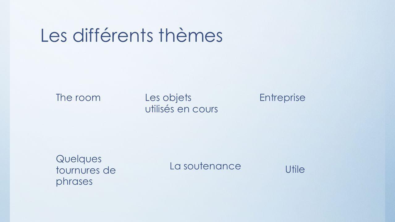 Les différents thèmes The roomLes objets utilisés en cours Entreprise Quelques tournures de phrases La soutenance Utile