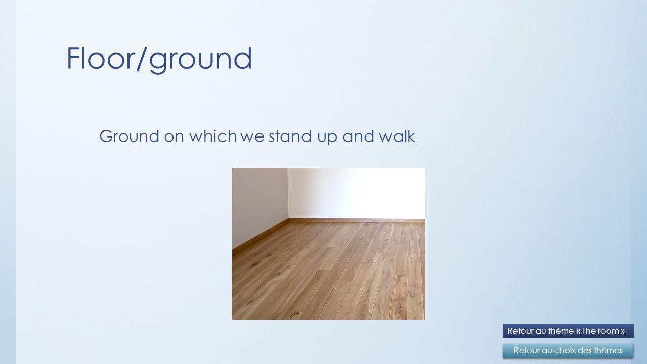 Floor/ground Retour au choix des thèmes Retour au thème « The room » Ground on which we stand up and walk