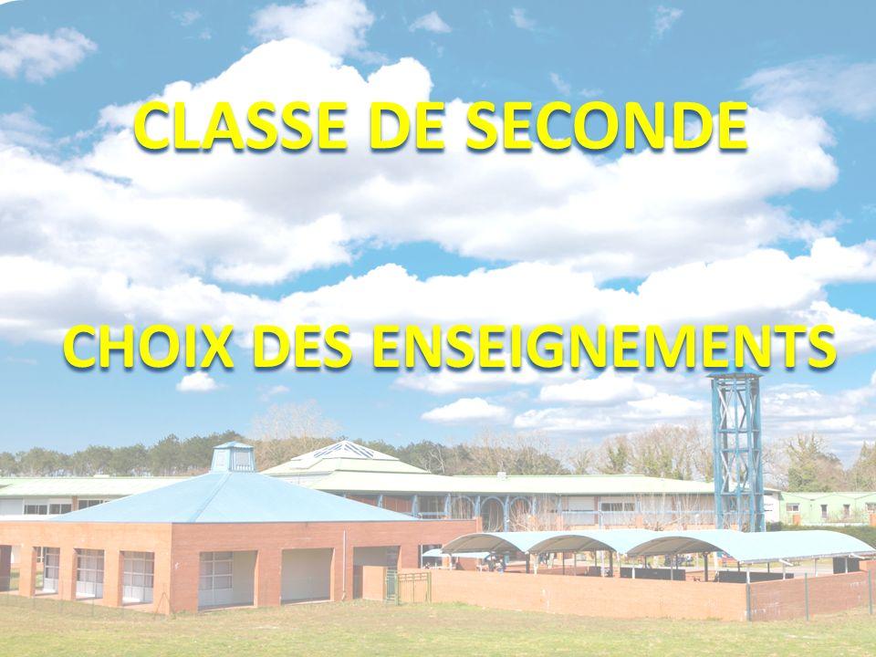 CLASSE DE SECONDE CHOIX DES ENSEIGNEMENTS