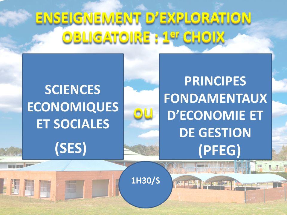 ouou SCIENCES ECONOMIQUES ET SOCIALES PRINCIPES FONDAMENTAUX DECONOMIE ET DE GESTION 1H30/S (SES) (PFEG) ENSEIGNEMENT DEXPLORATION OBLIGATOIRE : 1 er CHOIX