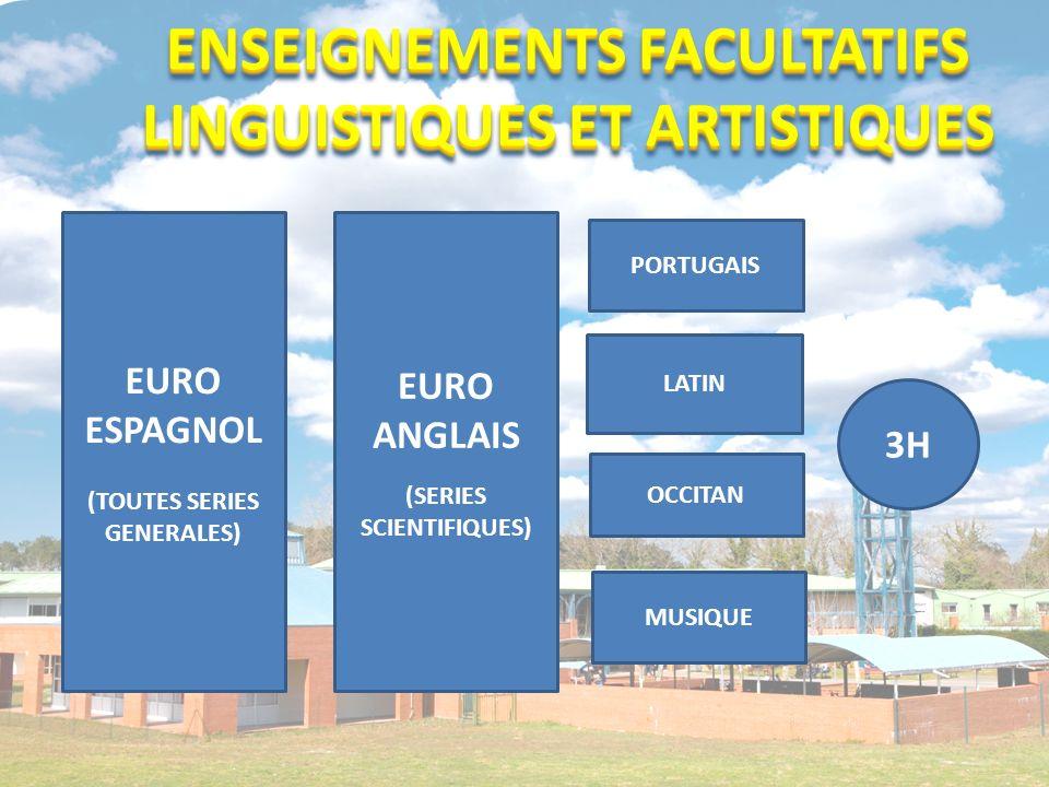 ENSEIGNEMENTS FACULTATIFS LINGUISTIQUES ET ARTISTIQUES LATIN MUSIQUE EURO ESPAGNOL (TOUTES SERIES GENERALES) 3H PORTUGAIS OCCITAN EURO ANGLAIS (SERIES SCIENTIFIQUES)