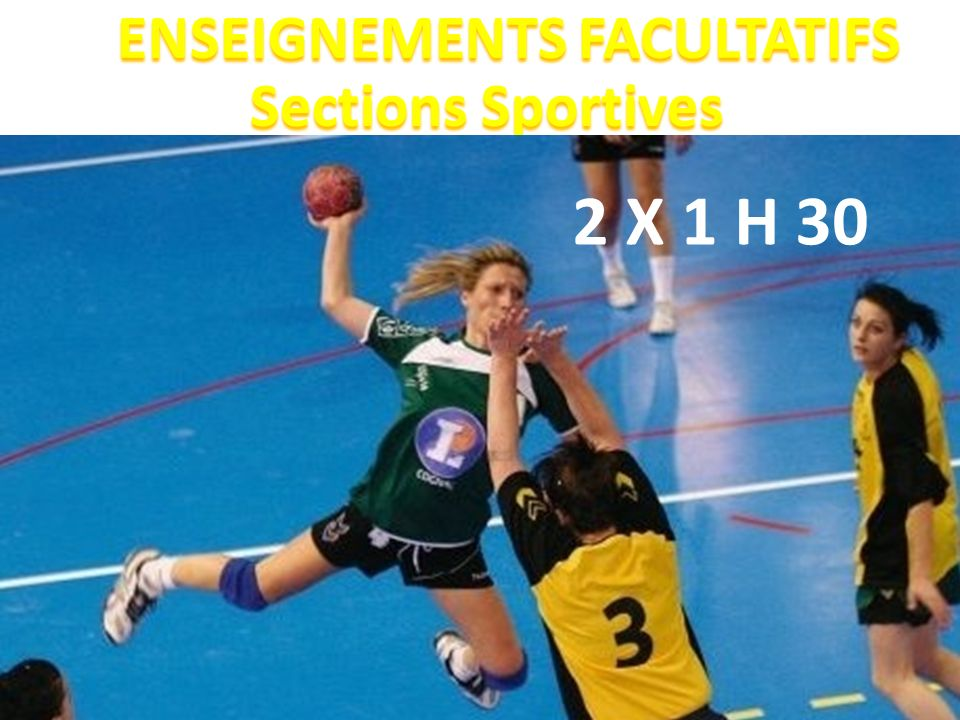ENSEIGNEMENTS FACULTATIFS Sections Sportives ENSEIGNEMENTS FACULTATIFS Sections Sportives 2 X 1 H 30