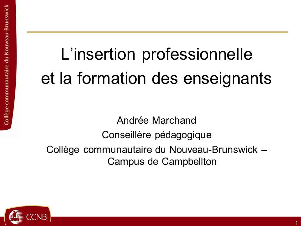 Linsertion professionnelle et la formation des enseignants Andrée Marchand Conseillère pédagogique Collège communautaire du Nouveau-Brunswick – Campus