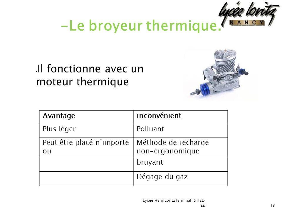 Il fonctionne avec un moteur thermique Lycée HenriLoritzTerminal STI2D EE13 -Le broyeur thermique. Avantageinconvénient Plus légerPolluant Peut être p