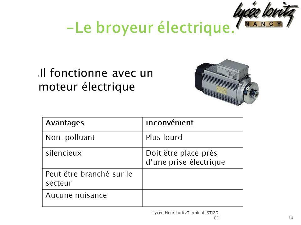 Il fonctionne avec un moteur électrique Lycée HenriLoritzTerminal STI2D EE14 -Le broyeur électrique. Avantagesinconvénient Non-polluantPlus lourd sile