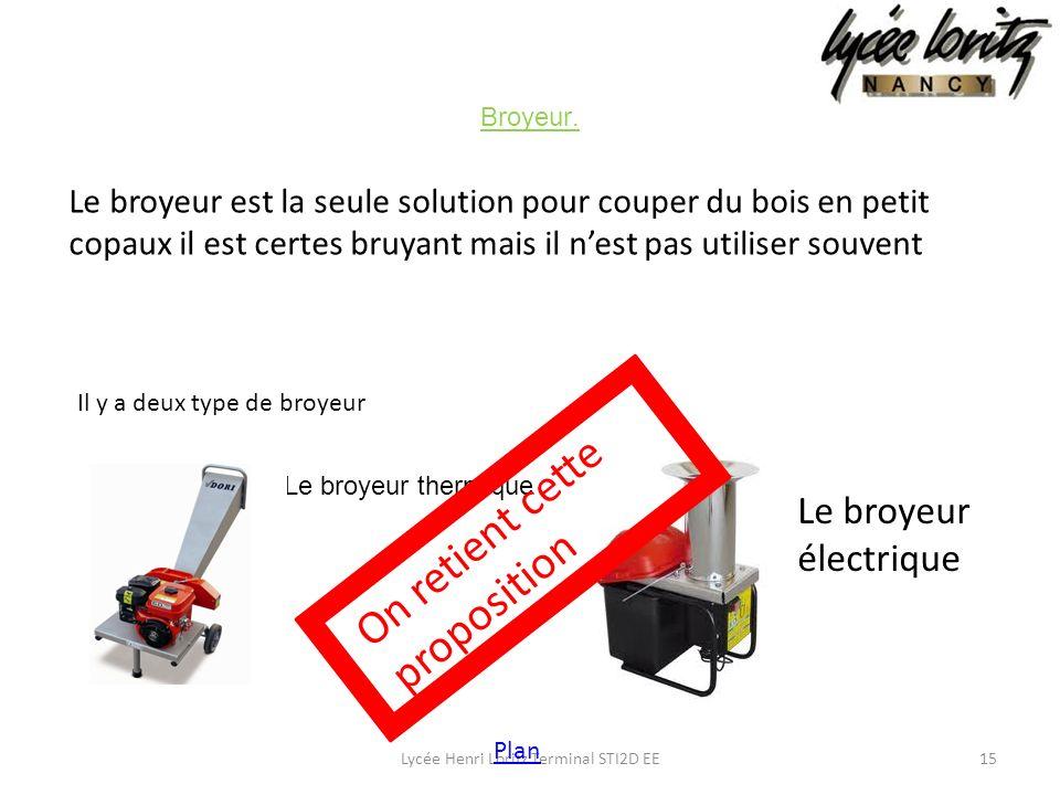 Le broyeur thermique Broyeur. 15Lycée Henri Loritz Terminal STI2D EE Le broyeur électrique Le broyeur est la seule solution pour couper du bois en pet