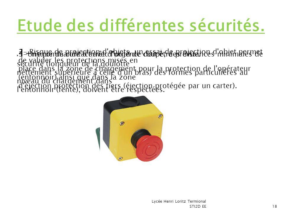 1- risque de contact avec l'outil de coupe, des distances minimales de sécurité (longueur de la goulotte nettement supérieure à celle d'un bras) des f