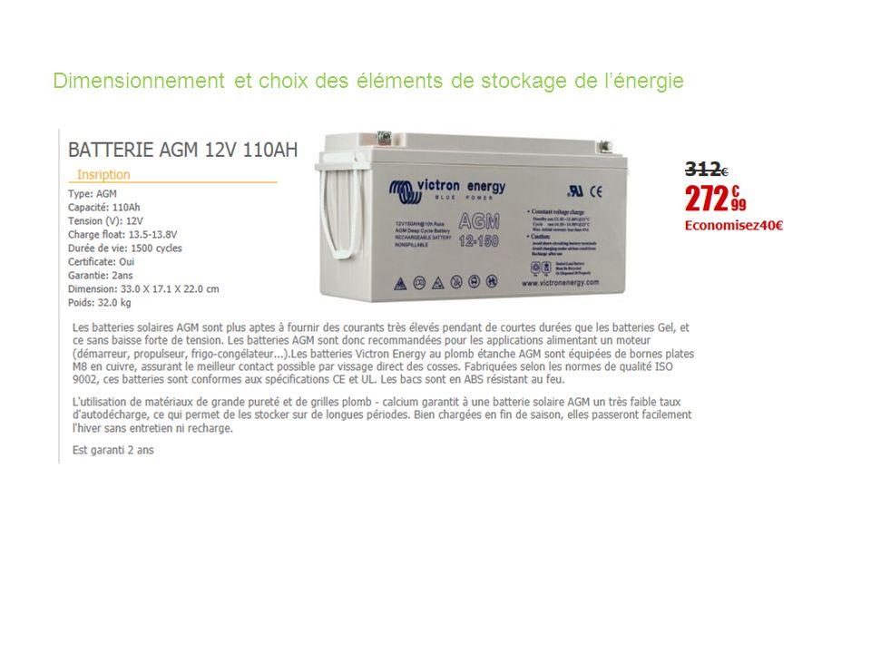 Dimensionnement et choix des éléments de stockage de lénergie