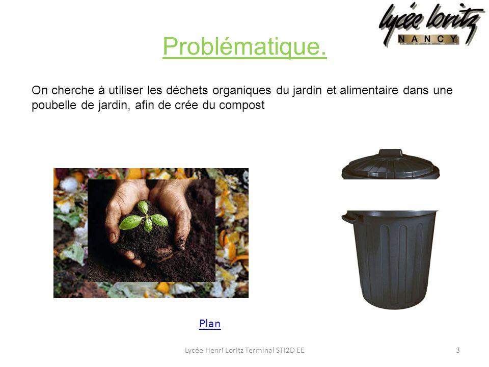 On cherche à utiliser les déchets organiques du jardin et alimentaire dans une poubelle de jardin, afin de crée du compost Problématique. 3Lycée Henri