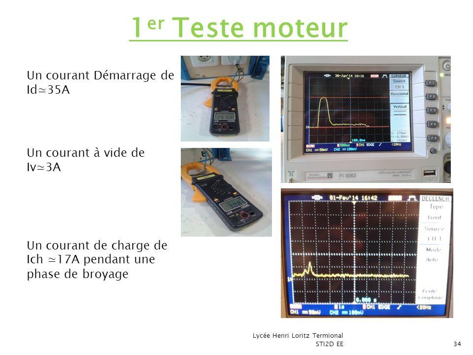 Lycée Henri Loritz Termional STI2D EE34 1 er Teste moteur Un courant Démarrage de Id35A Un courant à vide de Iv3A Un courant de charge de Ich 17A pend