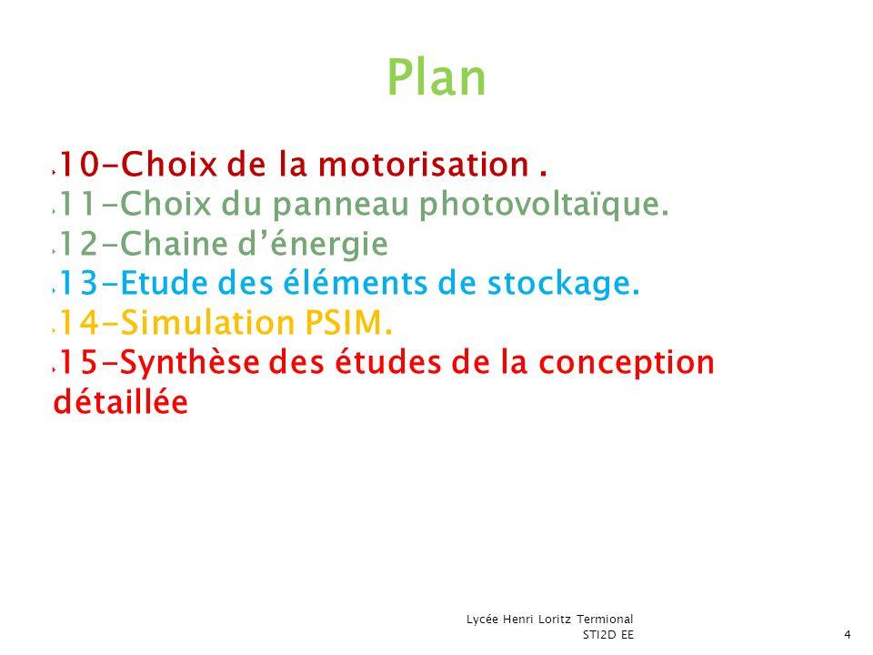 10-Choix de la motorisation. 11-Choix du panneau photovoltaïque. 12-Chaine dénergie 13-Etude des éléments de stockage. 14-Simulation PSIM. 15-Synthèse