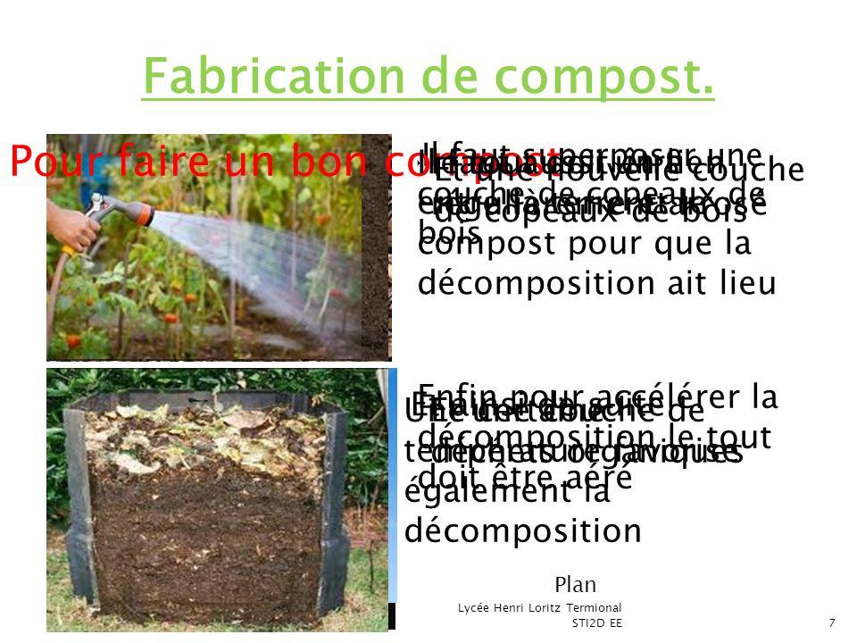 Il faut superposer une couche de copeaux de bois Lycée Henri Loritz Termional STI2D EE7 Fabrication de compost. Pour faire un bon compost Et une couch