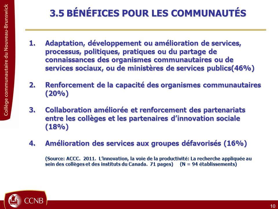 10 1.Adaptation, développement ou amélioration de services, processus, politiques, pratiques ou du partage de connaissances des organismes communautaires ou de services sociaux, ou de ministères de services publics(46%) 2.Renforcement de la capacité des organismes communautaires (20%) 3.Collaboration améliorée et renforcement des partenariats entre les collèges et les partenaires dinnovation sociale (18%) 4.Amélioration des services aux groupes défavorisés (16%) (Source: ACCC.