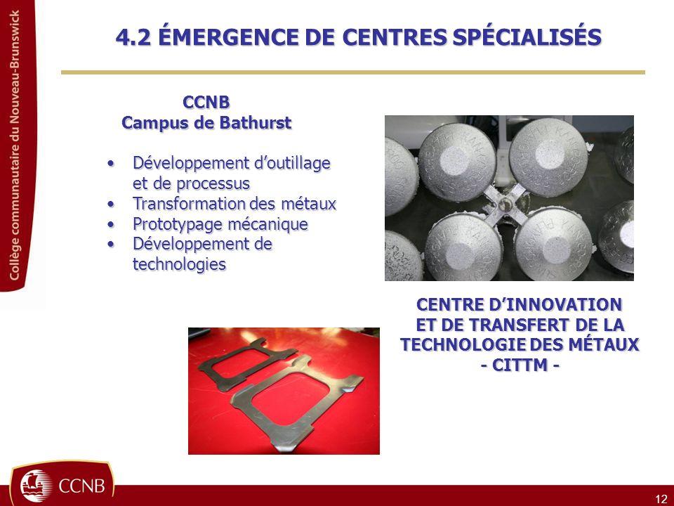 12 CCNB Campus de Bathurst Développement doutillage Développement doutillage et de processus et de processus Transformation des métaux Transformation