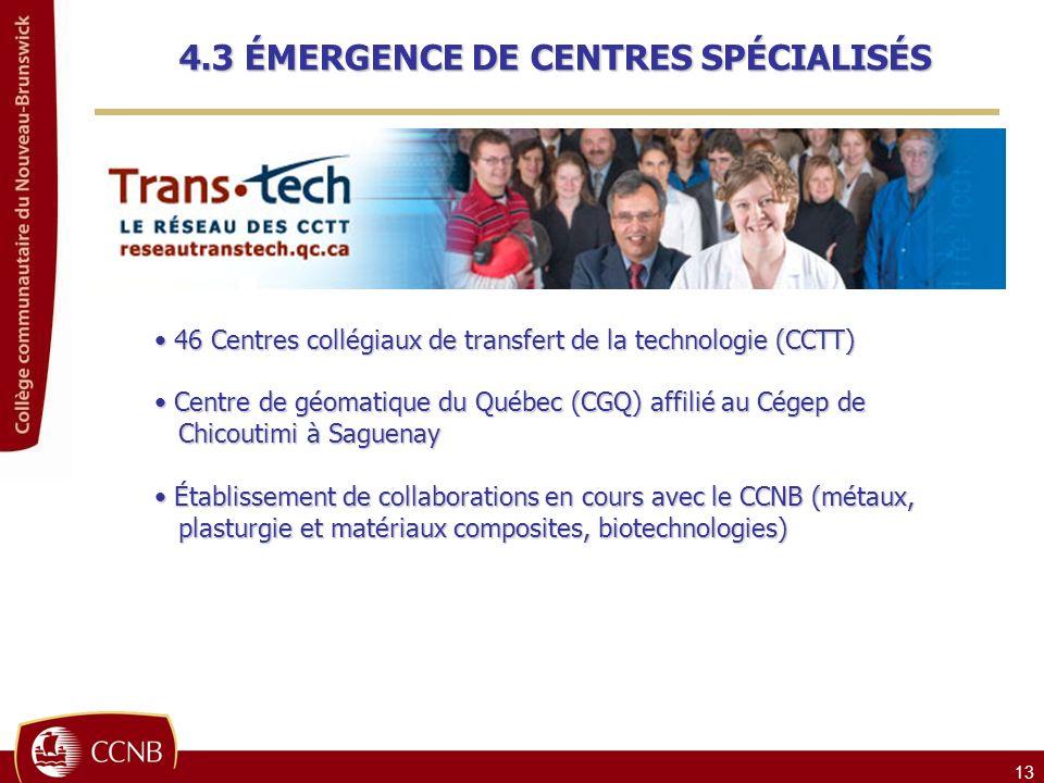 13 46 Centres collégiaux de transfert de la technologie (CCTT) 46 Centres collégiaux de transfert de la technologie (CCTT) Centre de géomatique du Québec (CGQ) affilié au Cégep de Centre de géomatique du Québec (CGQ) affilié au Cégep de Chicoutimi à Saguenay Chicoutimi à Saguenay Établissement de collaborations en cours avec le CCNB (métaux, Établissement de collaborations en cours avec le CCNB (métaux, plasturgie et matériaux composites, biotechnologies) plasturgie et matériaux composites, biotechnologies) 4.3 ÉMERGENCE DE CENTRES SPÉCIALISÉS