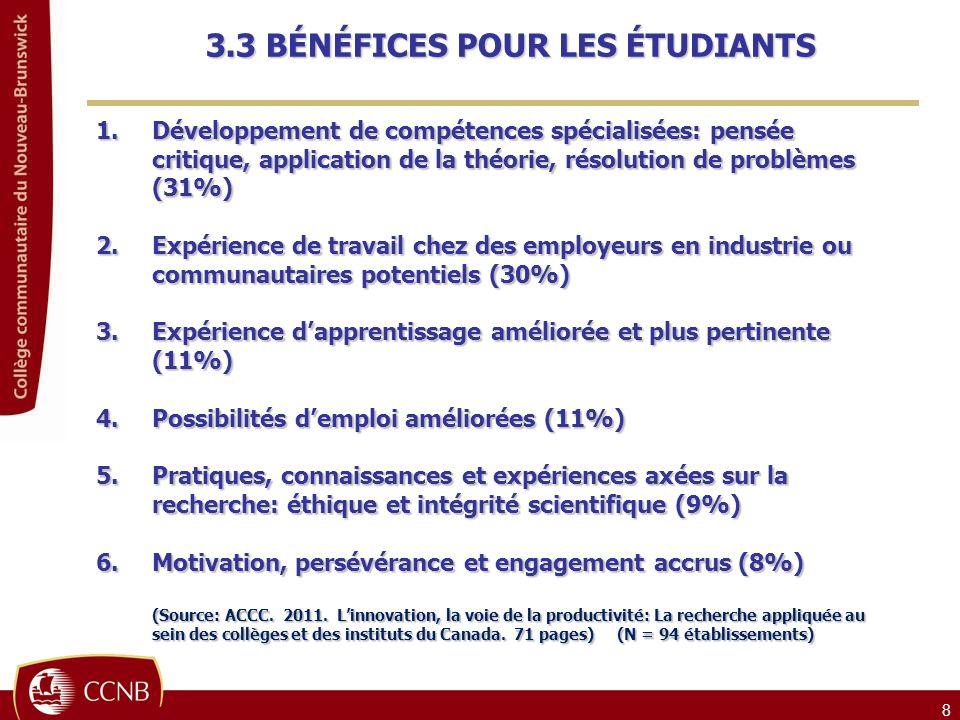 8 1.Développement de compétences spécialisées: pensée critique, application de la théorie, résolution de problèmes (31%) 2.Expérience de travail chez des employeurs en industrie ou communautaires potentiels (30%) 3.Expérience dapprentissage améliorée et plus pertinente (11%) 4.Possibilités demploi améliorées (11%) 5.Pratiques, connaissances et expériences axées sur la recherche: éthique et intégrité scientifique (9%) 6.Motivation, persévérance et engagement accrus (8%) (Source: ACCC.