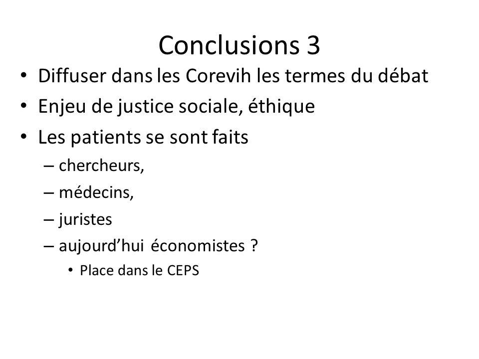 Conclusions 3 Diffuser dans les Corevih les termes du débat Enjeu de justice sociale, éthique Les patients se sont faits – chercheurs, – médecins, – juristes – aujourdhui économistes .