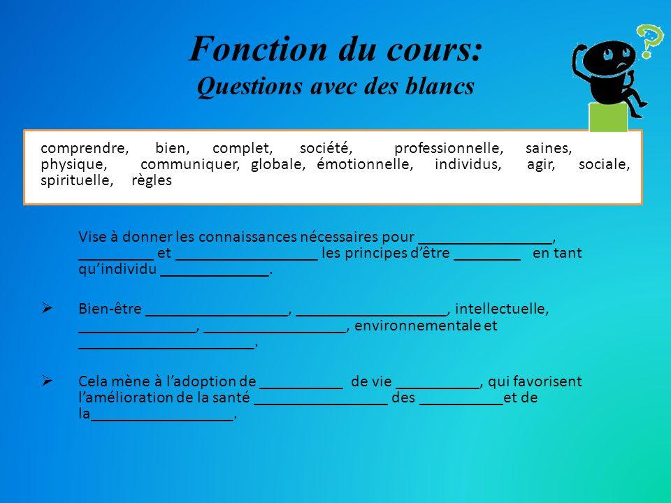 Fonction du cours: Questions avec des blancs comprendre, bien, complet, société, professionnelle, saines, physique, communiquer, globale, émotionnelle