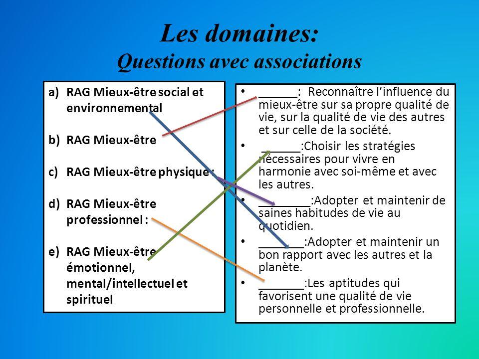 Les domaines: Questions avec associations ______: Reconnaître linfluence du mieux-être sur sa propre qualité de vie, sur la qualité de vie des autres