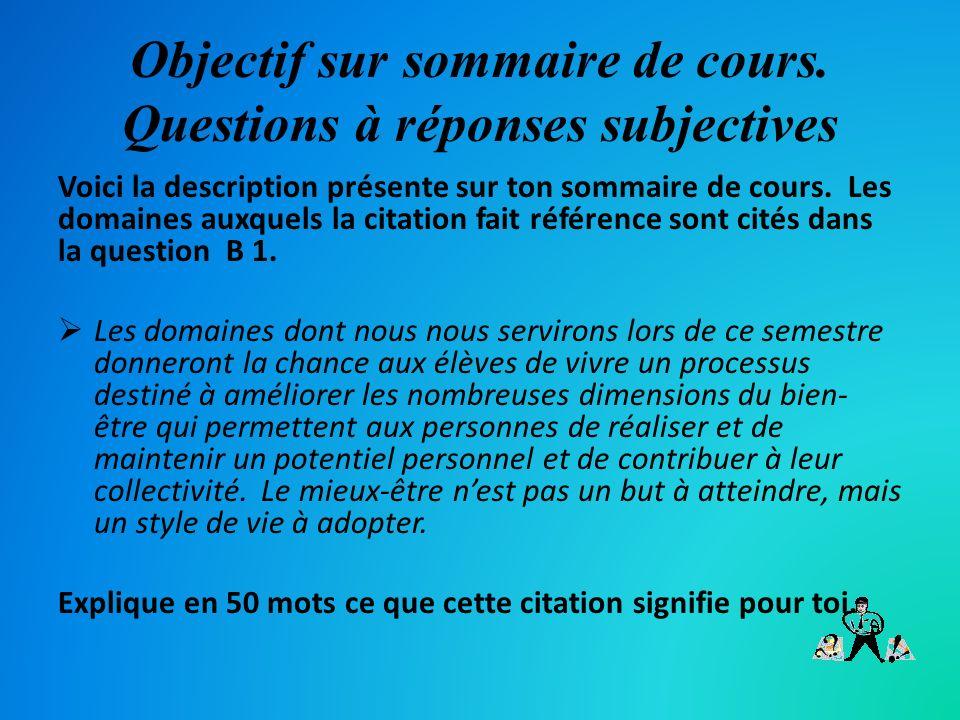 Objectif sur sommaire de cours. Questions à réponses subjectives Voici la description présente sur ton sommaire de cours. Les domaines auxquels la cit