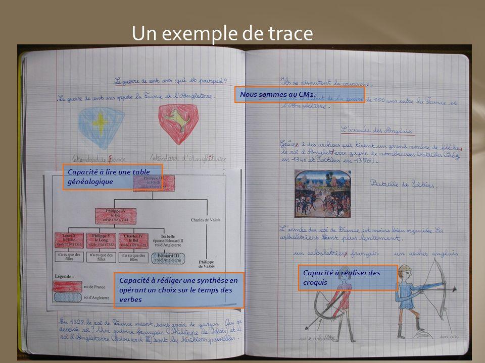 Un exemple de trace Nous sommes au CM1. Capacité à lire une table généalogique Capacité à rédiger une synthèse en opérant un choix sur le temps des ve