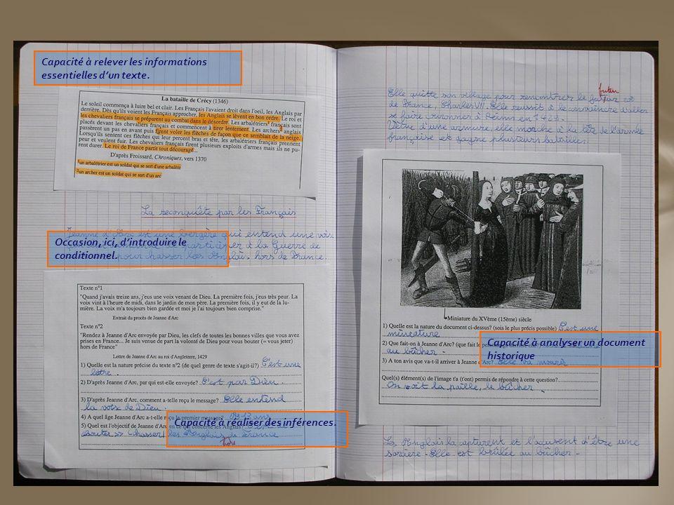 Capacité à relever les informations essentielles dun texte. Occasion, ici, dintroduire le conditionnel. Capacité à réaliser des inférences. Capacité à