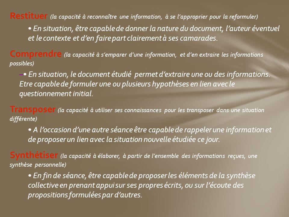Restituer (la capacité à reconnaître une information, à se lapproprier pour la reformuler) En situation, être capable de donner la nature du document,