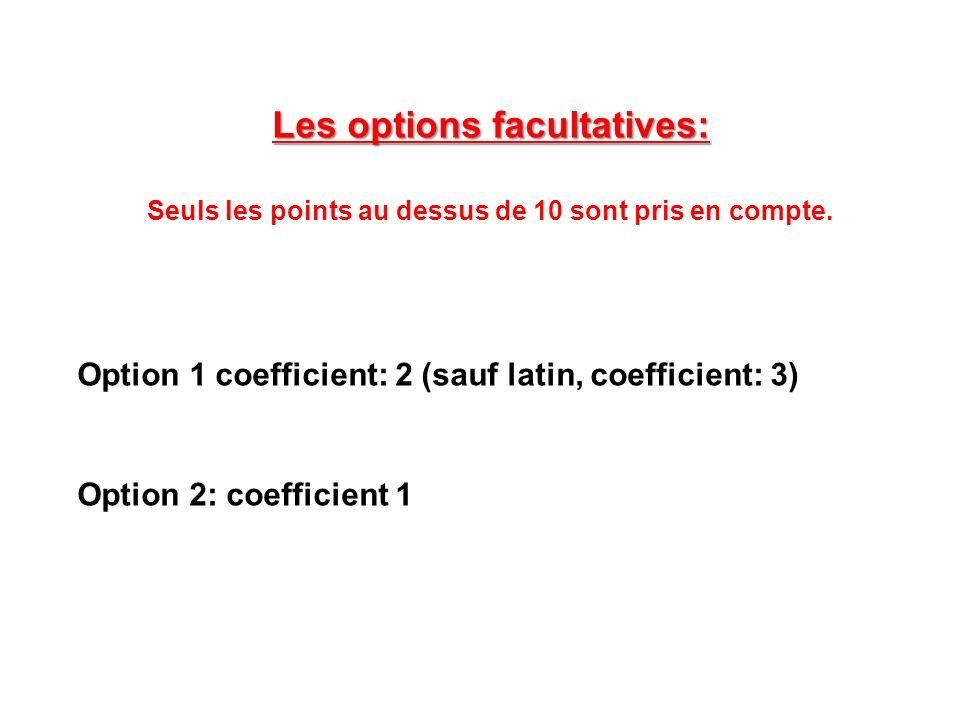 Les options facultatives: Seuls les points au dessus de 10 sont pris en compte.