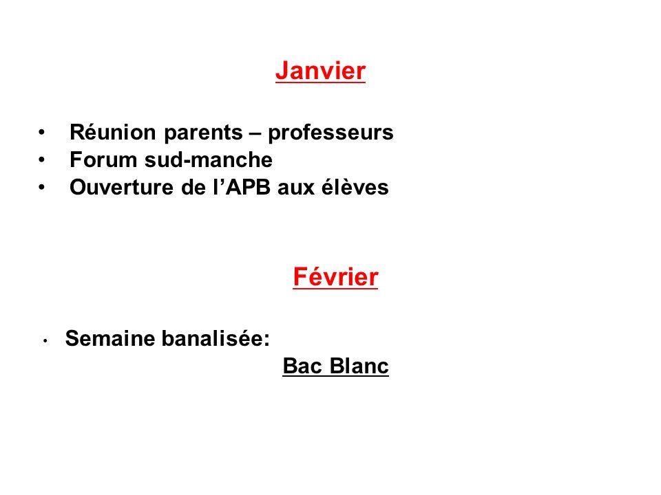 Janvier Réunion parents – professeurs Forum sud-manche Ouverture de lAPB aux élèves Février Semaine banalisée: Bac Blanc