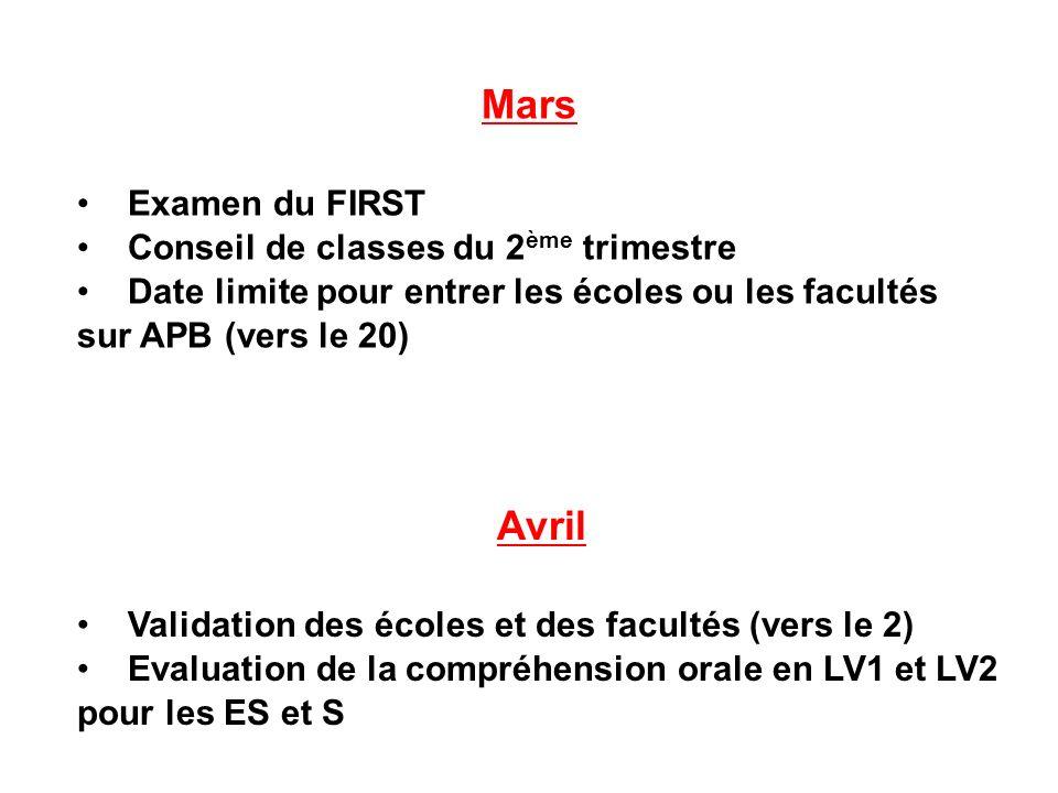 Mars Examen du FIRST Conseil de classes du 2 ème trimestre Date limite pour entrer les écoles ou les facultés sur APB (vers le 20) Avril Validation des écoles et des facultés (vers le 2) Evaluation de la compréhension orale en LV1 et LV2 pour les ES et S