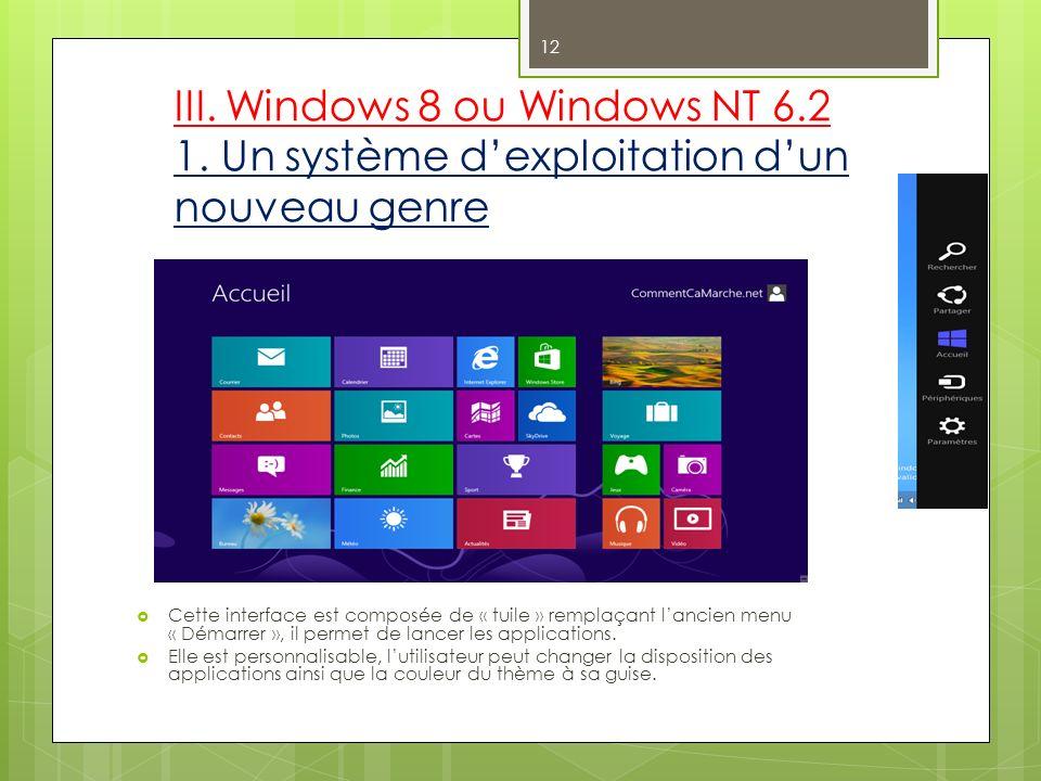 III. Windows 8 ou Windows NT 6.2 1. Un système dexploitation dun nouveau genre Cette interface est composée de « tuile » remplaçant lancien menu « Dém