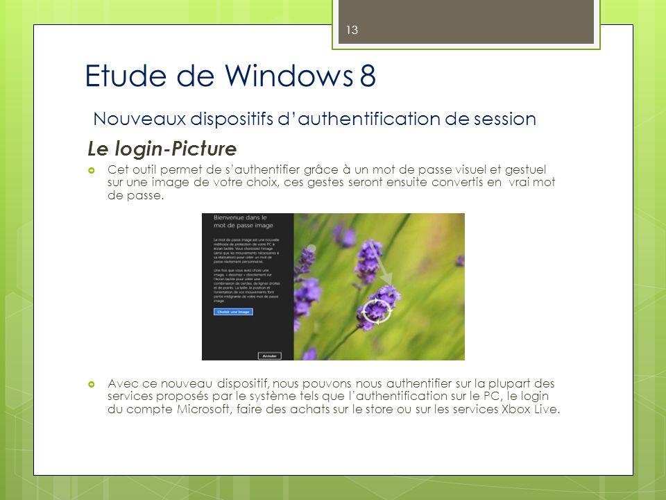 Etude de Windows 8 Nouveaux dispositifs dauthentification de session Le login-Picture Cet outil permet de sauthentifier grâce à un mot de passe visuel