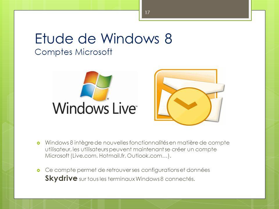 Etude de Windows 8 Comptes Microsoft Windows 8 intègre de nouvelles fonctionnalités en matière de compte utilisateur, les utilisateurs peuvent mainten
