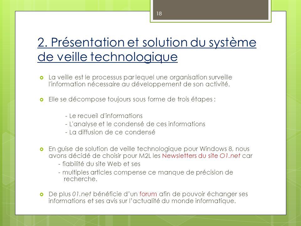 2. Présentation et solution du système de veille technologique La veille est le processus par lequel une organisation surveille l'information nécessai