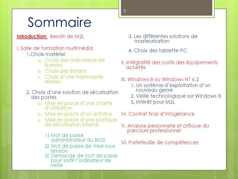 Sommaire Introduction: Besoin de M2L I. Salle de formation multimédia 1.Choix matériel a. Choix des ordinateurs de bureau b. Choix des écrans c. Choix