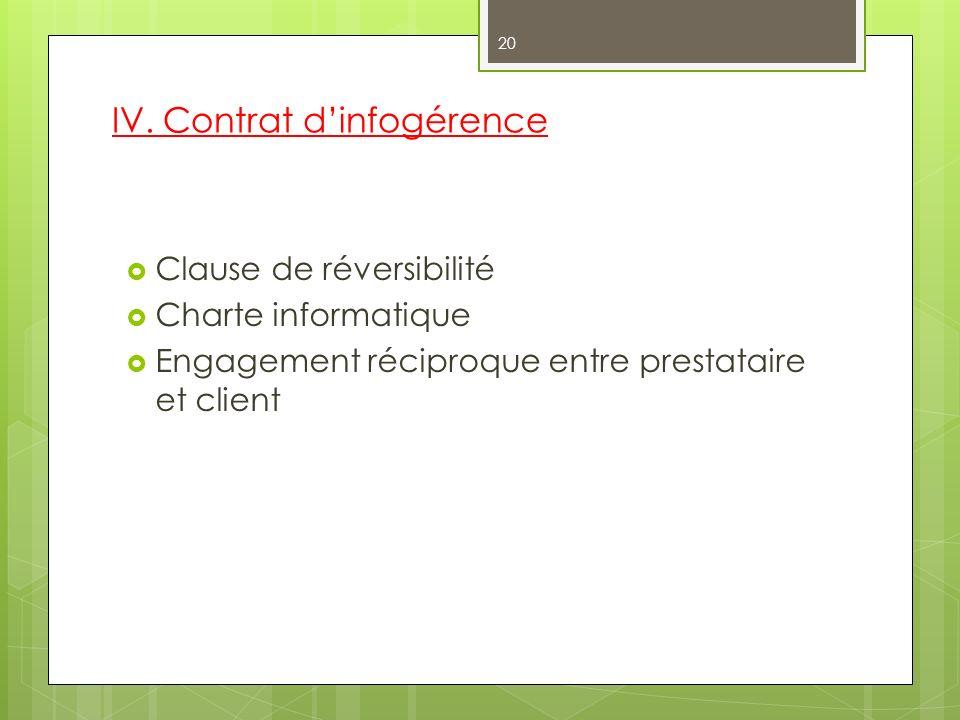 IV. Contrat dinfogérence Clause de réversibilité Charte informatique Engagement réciproque entre prestataire et client 20
