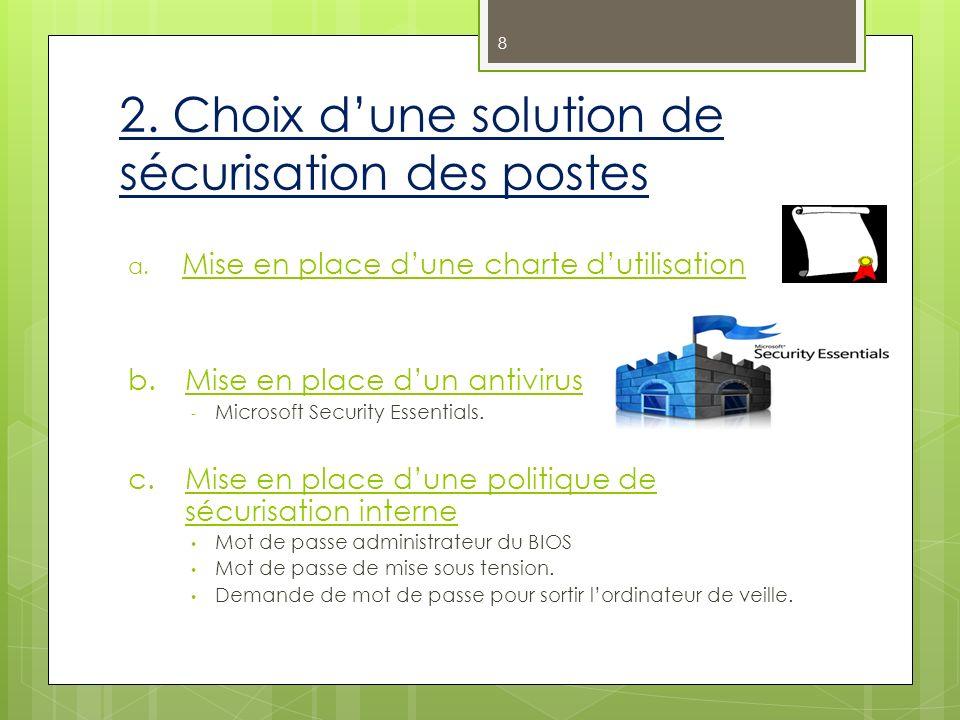 2. Choix dune solution de sécurisation des postes a. Mise en place dune charte dutilisation b.Mise en place dun antivirus - Microsoft Security Essenti