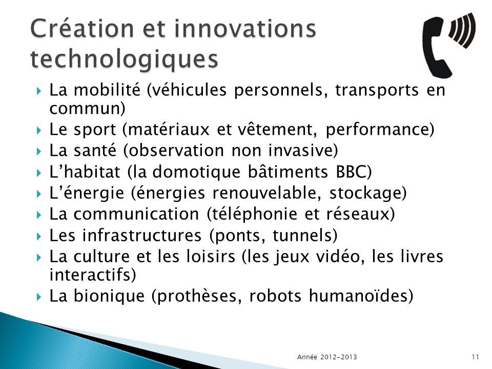 La mobilité (véhicules personnels, transports en commun) Le sport (matériaux et vêtement, performance) La santé (observation non invasive) Lhabitat (la domotique bâtiments BBC) Lénergie (énergies renouvelable, stockage) La communication (téléphonie et réseaux) Les infrastructures (ponts, tunnels) La culture et les loisirs (les jeux vidéo, les livres interactifs) La bionique (prothèses, robots humanoïdes) Année 2012-201311