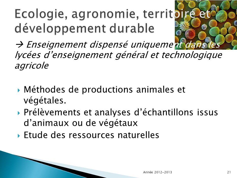 Enseignement dispensé uniquement dans les lycées denseignement général et technologique agricole Méthodes de productions animales et végétales.