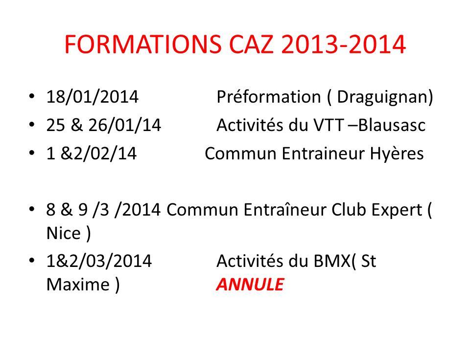 18/01/2014Préformation ( Draguignan) 25 & 26/01/14Activités du VTT –Blausasc 1 &2/02/14 Commun Entraineur Hyères 8 & 9 /3 /2014 Commun Entraîneur Club Expert ( Nice ) 1&2/03/2014Activités du BMX( St Maxime )ANNULE FORMATIONS CAZ 2013-2014