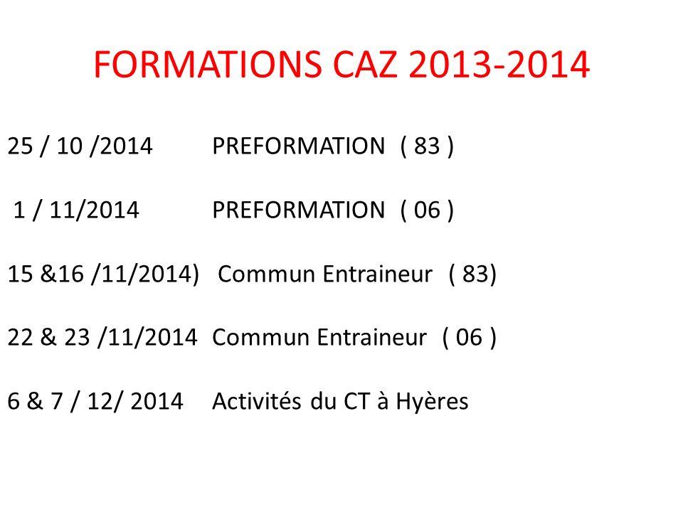 25 / 10 /2014PREFORMATION ( 83 ) 1 / 11/2014PREFORMATION ( 06 ) 15 &16 /11/2014) Commun Entraineur ( 83) 22 & 23 /11/2014Commun Entraineur ( 06 ) 6 & 7 / 12/ 2014 Activités du CT à Hyères FORMATIONS CAZ 2013-2014
