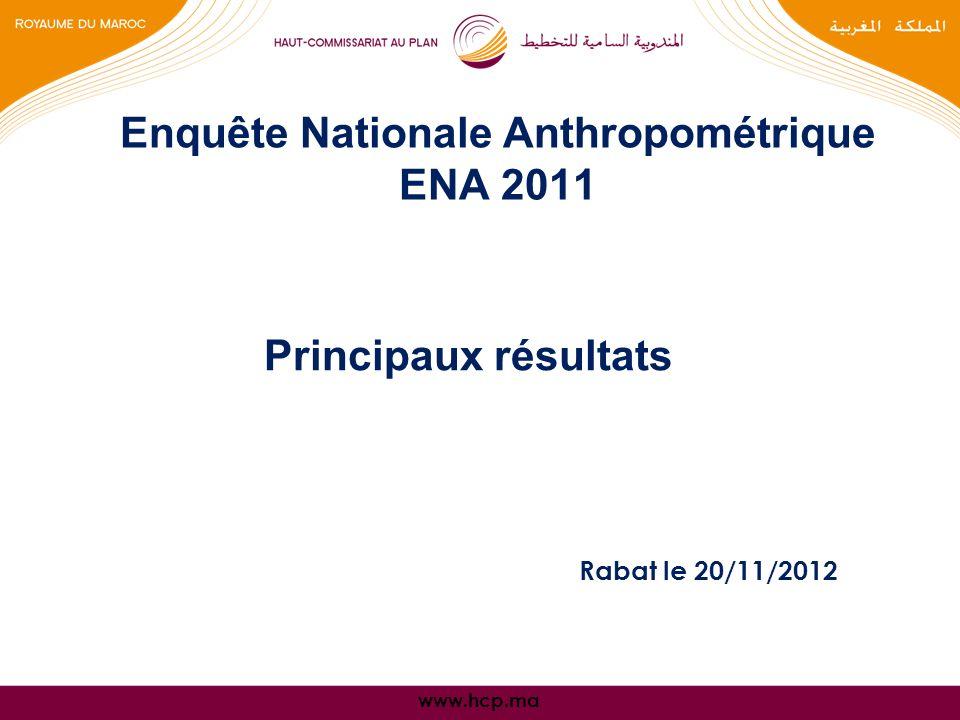 www.hcp.ma Principaux résultats Enquête Nationale Anthropométrique ENA 2011 Rabat le 20/11/2012