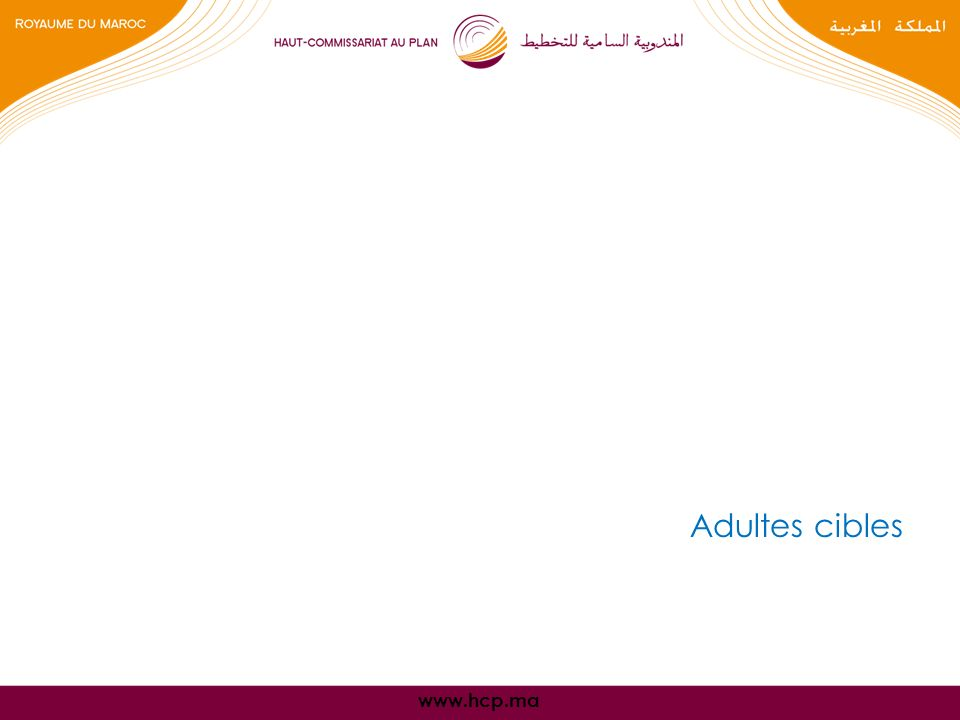 www.hcp.ma Adultes cibles