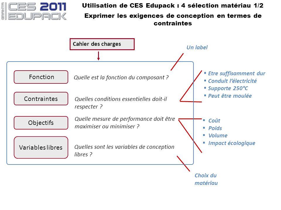Utilisation de CES Edupack : 4 sélection matériau 1/2 Exprimer les exigences de conception en termes de contraintes Contraintes Quelles conditions ess