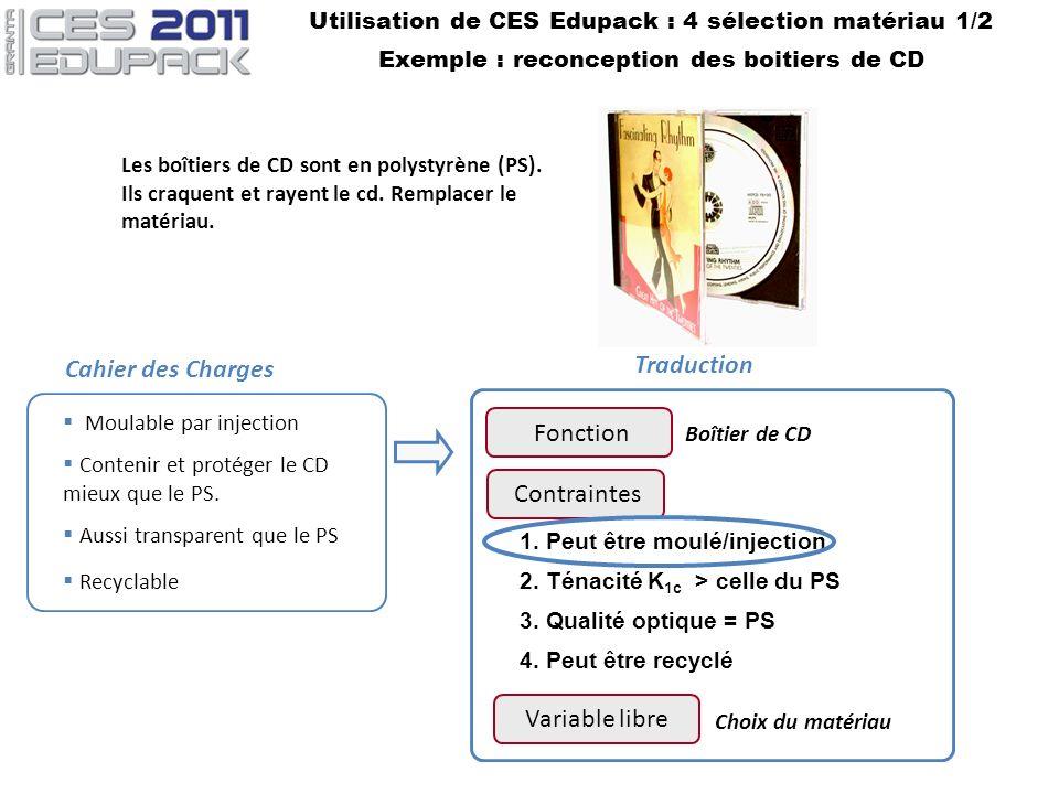 Utilisation de CES Edupack : 4 sélection matériau 1/2 Exemple : reconception des boitiers de CD Contraintes 1. Peut être moulé/injection 2. Ténacité K