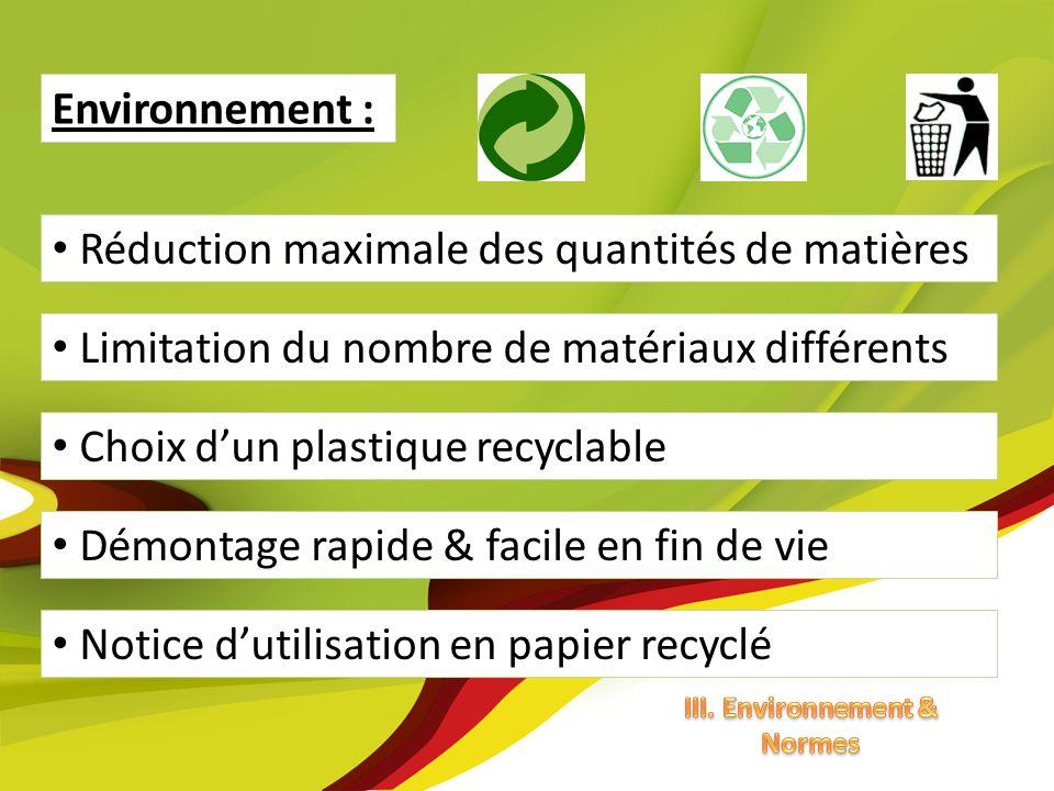 Démontage rapide & facile en fin de vie Choix dun plastique recyclable Environnement : Réduction maximale des quantités de matières Limitation du nomb
