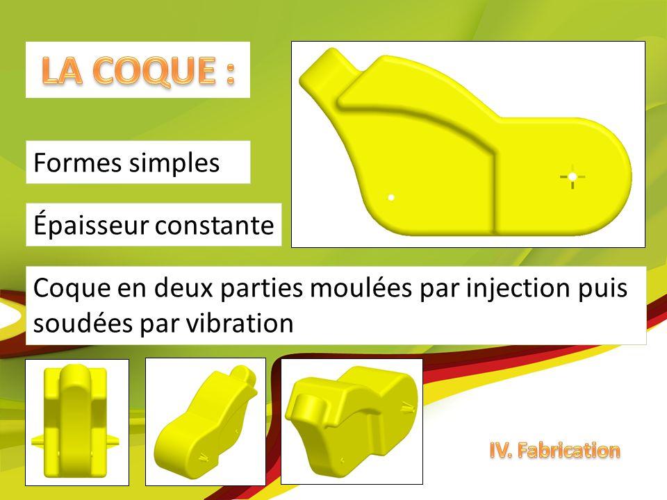 Coque en deux parties moulées par injection puis soudées par vibration Épaisseur constante Formes simples