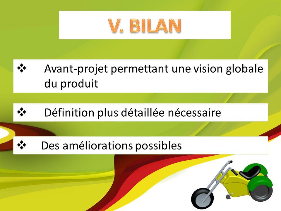 Des améliorations possibles Avant-projet permettant une vision globale du produit Définition plus détaillée nécessaire